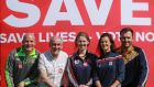Joe Sheridan, Patrick Gallagher, Aoife Cassidy, AnneMarie McDonagh and Micky Harte at the  GAA Athletes for a No Vote event on Saturday. Photograph Nick Bradshaw
