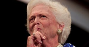 Former US first lady Barbara Bush. 'She was the ungainly, insecure daughter of an austere, beautiful mother who put her down.' Photograph: Reuters