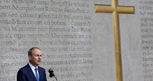 Party leader Micheál Martin speaking during the annual Fianna Fáil 1916 Easter Rising commemoration at Arbour Hill cemetery in Dublin. Photograph: Brian Lawless/PA Wire