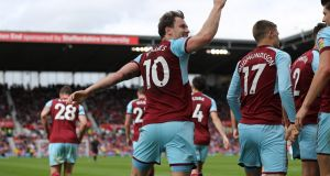 Ashley Barnes celebrates scoring Burnley's equaliser in  the Premier League match against  Stoke City  at the Bet365 Stadium. Photograph: Matthew Lewis/Getty Images