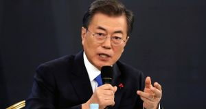 South Korean president Moon Jae-in: staying at presidential Blue House to prepare for Friday's summit, the first inter-Korean summit in more than a decade.   Photograph: Kim Hong-ji/EPA