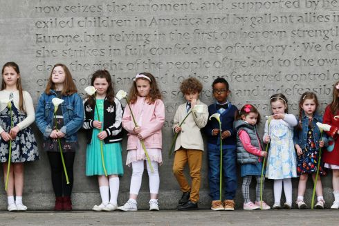 FLOWER CHILDREN: The children who presented Easter lilies during the annual Fianna Fáil Easter Rising commemoration at Arbour Hill. Photograph: Nick Bradshaw