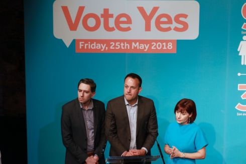ABORTION REFERENDUM: Simon Harris, Leo Varadkar and Josepha Madigan at the launch of a campaign for pro-repeal Fine Gael members, at Smock Alley Theatre, Dublin. Photograph: Nick Bradshaw