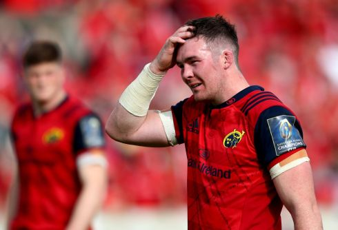 CHAMPIONS CUP: Munster's Peter O'Mahony is dejected after their Champions Cup semi-final against Racing 92 at Stade Chaban-Delmas, Bordeaux, France. Photograph: INPHO/James Crombie