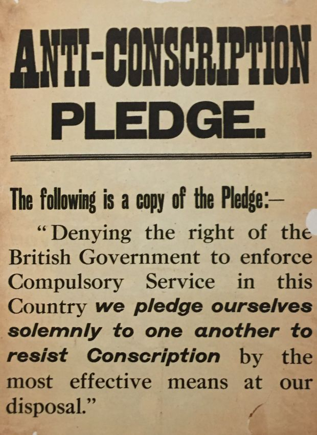 A poster against the Conscription Act.