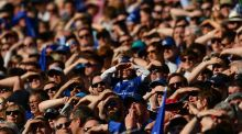 Leinster supporters during the European Champions Cup semi-final match at the Aviva. Photograph: Sportsfile
