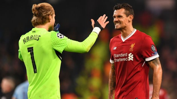 Liverpool's German goalkeeper Loris Karius and Croatian defender Dejan Lovren. Photograph: Getty Images