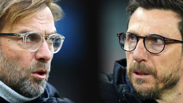 Jurgen Klopp and Roma boss Eusebio Di Francesco go head to head in the Champions League last four. Photograph: Francesco Pecoraro/Getty Images