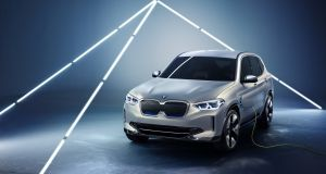 "BMW iX3: stylistically, it's much quieter looking than i-branded models, and is basically an X3 with a slightly tweaked bodykit and a blanked-off ""kidney"" grille at the front"