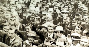 A large anti-conscription demonstration in Dungannon. Photograph: Photo12/UIG/Getty Images