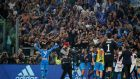 Napoli's Jose Callejon celebrates after the match with Napoli fans following their win over Juventus at the Allianz Stadium. Photo: Stefano Rellandini/Reuters