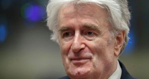 Radovan Karadzic:  was found responsible for crimes including the 1995 massacre of 8,000 Bosnian Muslims at Srebrenica and the 44-month siege of Sarajevo, which claimed about 10,000 lives. Photograph: Yves Herman/AP