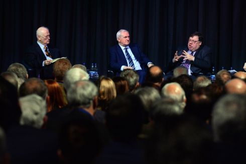 BREXIT BACKGROUNDER: Former taoisaigh John Bruton, Bertie Ahern and Brian Cowen, with chairperson Olivia O'Leary, debate on the topic 'Brexit, Ireland and the future of Europe' at the Round Room at the Mansion House in Dublin. Photograph:  Cyril Byrne/The Irish Times