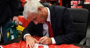 Ian Rush at the  Liverpool FC Store in the Ilac Centre, in Dublin on Monday. Photograph: Harry Murphy/Sportsfile