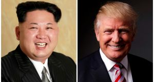 Kim Jong-un and Donald Trump: Each country is hoping for a dramatic – and unlikely – win over the other. Photograph: Reuters/KCNA handout, Lucas Jackson/Reuters