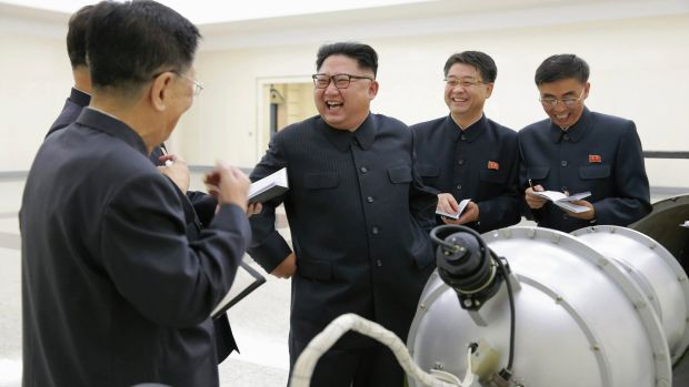 An undated photograph shows North Korean leader Kim Jong-un purportedly guiding the work for nuclear weaponisation at an undisclosed location in North Korea in 2017. Photograph: EPA/KCNA