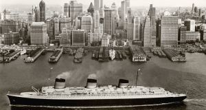 The 'Normandie' docking in New York. Photograph: Courtesy V&A