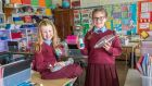 Fiona Rose Redmond (10), left, and Ava McCord (10)  at St Brigid's Girls National School, Killester, Dublin. The school has become the first 'asthma-friendly school' in Dublin. Photograph: Brenda Fitzsimons