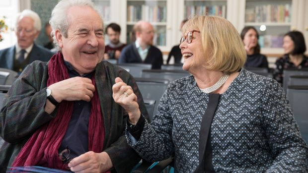 John Banville and Marie Heaney at the opening of a new building for the Trinity Centre for Literary and Cultural Translation