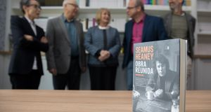 At a celebration of Seamus Heaney to mark the opening of a new building for the Trinity Centre for Literary and Cultural Translation were, from left, Pura López Colomé, Jerzy Jarniewicz, Marie Heaney, Grigory Kruzhkov and András Imreh. Photographs: Paul Sharp/Sharppix