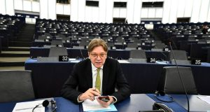 "European Parliament Brexit co-ordinator Guy Verhofstadt: ""It remains a priority . . . to ensure that citizens, whether UK citizens in the EU or EU citizens in the UK, can continue to lead their lives as they do now."" Photograph: Patrick Seeger"