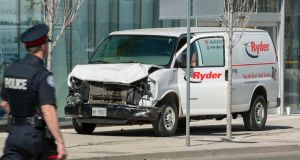 A rented van pictured on a footpath in Toronto after it was driven off the street into pedestrians, killing ten and injuring many others. Photograph: Warren Toda/EPA