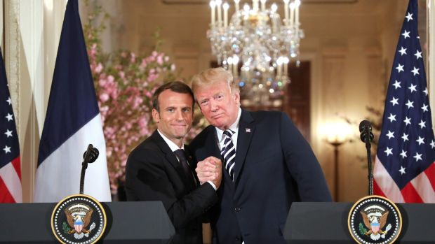 US president Donald Trump and French president Emmanuel Macron hold a joint press conference at the White House in Washington, DC. Photograph: Ludovic Marin/AFP/Getty Images