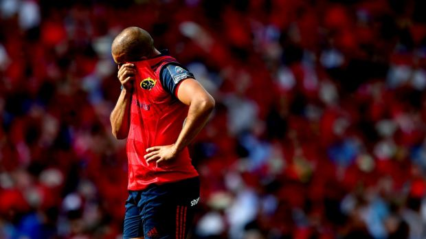 Munster's Simon Zebo remained on the bench for his side's defeat to Racing 92. Photograph: James Crombie/Inpho