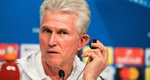 "Bayern Munich's head coach Jupp Heynckes:  ""I came back at a very old age and now I have the privilege of being successful again, reaching a semi-final and possibly going through to the final."" Photograph: Lukas Barth/EPA"