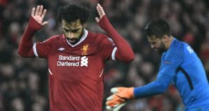 Mohamed Salah after scoring Liverpool's second at Anfield. Photograph: Filippo Monteforte/AFP