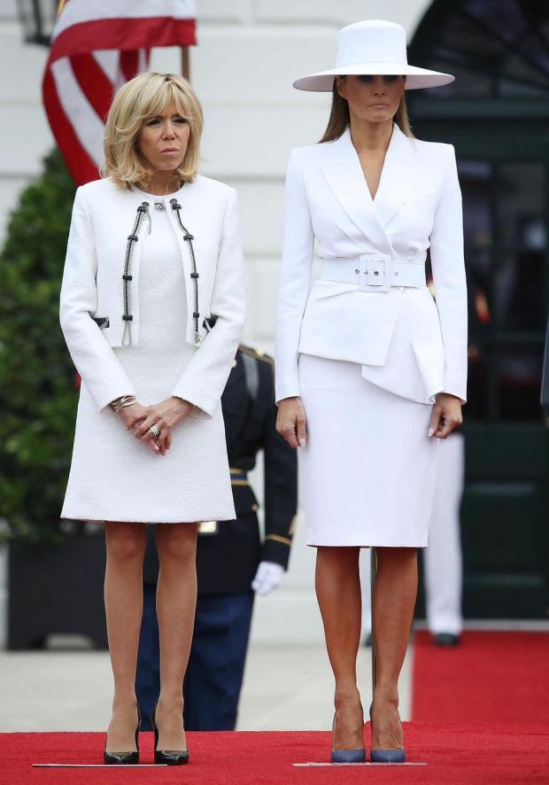 US first lady Melania stands with French first lady Brigitte Macron, during an arrival ceremony at the White House. Photograph: Mark Wilson/Getty Images.