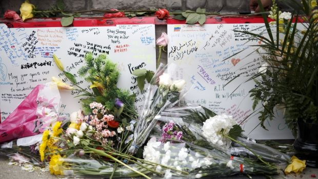 A memorial for victims of the van rampage on Yonge St, Toronto, Canada. Photograph: Burston/Getty Images