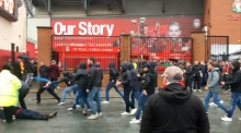 Fights break out before Liverpool's match against Roma