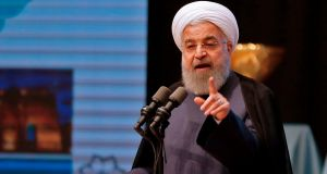 "Iranian president Hassan Rouhani: ""How can a tradesman, a merchant, a building constructor, a tower constructor make judgments about international affairs?"" he added referring to Donald Trump's career as a property developer. Photograph: Atta Kenare/AFP/Getty Images"