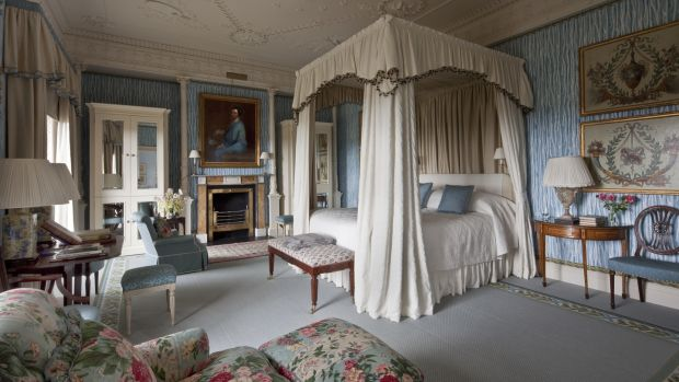 A bedroom at Ballyfin, where B&B this summer costs from €960 for a double room