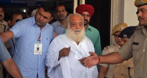 Spiritual guru Asaram Bapu: has denied the rape and can appeal against his conviction in a higher court. Photograph:  Sunil Verma/AP
