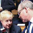 UK foreign secretary Boris Johnson and Minister for Foreign Affairs Simon Coveney: Ireland diluted the EU's expression of support for the military strike against Syria. Photograph: Emmanuel Dunand/AFP/Getty