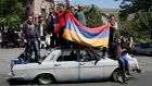 Supporters of Armenian opposition leader Nikol Pashinyan at a rally in Yerevan, Armenia, on Wednesday. Photograph: Gleb Garanich/Reuters