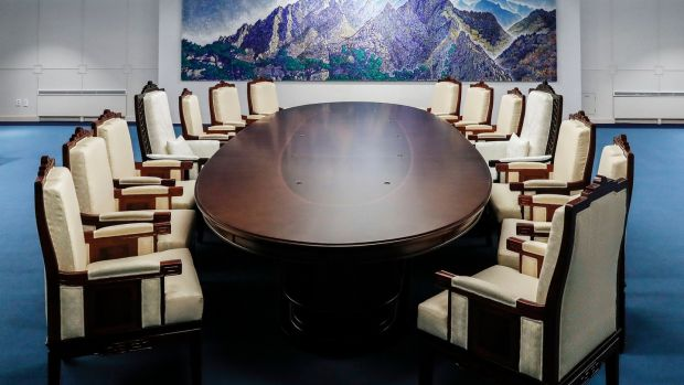 A meeting room for Friday's inter-Korean summit between South and North Korea in Panmunjom in the Demilitarized Zone, South Korea. Photograph: South Korea Presidential Blue House via AP