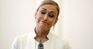 President of Madrid's regional government  Cristina Cifuentes resigns on Wednesday at a press conference in Madrid, Spain.  Photograph: Emilio Naranjo/EPA