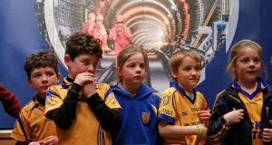 Young members of Na Fianna GAA Club at a MetroLink public information session in the Helix in DCU hosted by TII (Transport Infrastructure Ireland) earlier this month. Photograph: Nick Bradshaw