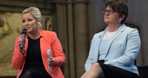 Sinn Féin leader Michelle O'Neill (l) and Democratic Unionist Party (DUP) leader Arlene Foster (r). File photograph: Carl Court/Getty Images