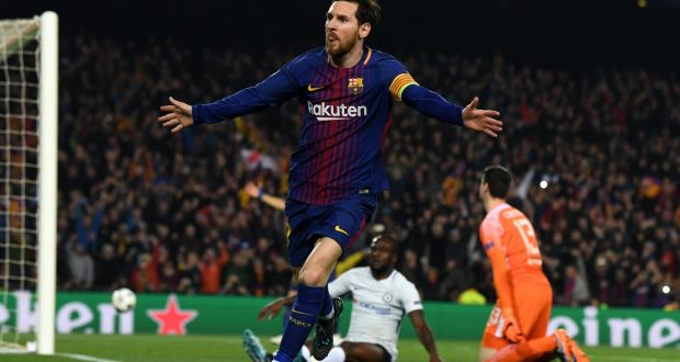 0fc0c9523 Lionel Messi of Barcelona celebrates as he scores against Chelsea in the  UEFA Champions League.