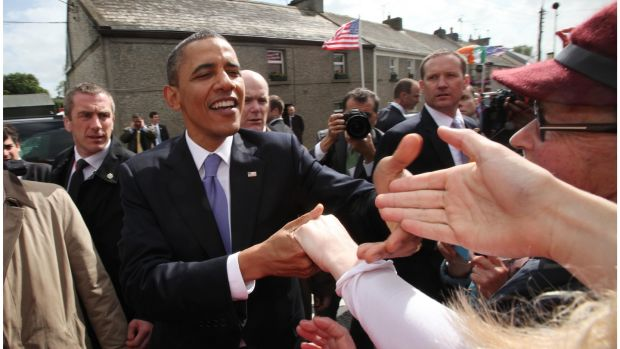 Former US president Barack Obama in his ancestral homeland in Moneygall, Co Offaly. Photograph: Bryan O'Brien / THE IRISH TIMES