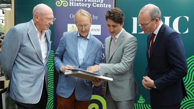 From left, Neville Isdell, chairman of chq Dublin and founder of Epic, Brian Donovan, Eneclann, Canadian prime minister Justin Trudeau and Tánaiste Simon Coveney.