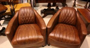 Listings one: Pair of leather tub armchairs, Hegarty's, Bandon, Lot 115