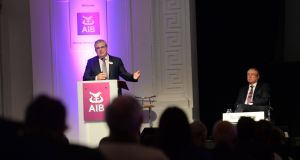AIB chief executive Bernard Byrne and chairman Richard Pym: bank proposal entitled up to 100 senior executives to bonuses of up to 100 per cent of their salary. Photograph: Dara Mac Dónaill