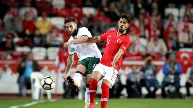Matt Doherty making his senior international debut for the Republic of Ireland in the friendly clash with Turkey at the Antalya Stadyum. Photograph: Ryan Byrne/Inpho