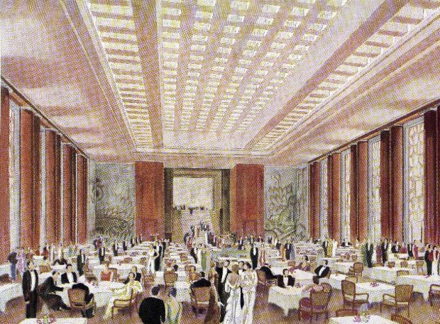 The first class dining room on board the SS L 'Atlantique' – a luxurious ocean liner that travelled between the south of France and South America from 1930-1933. Photograph: Culture Club/ Getty Images
