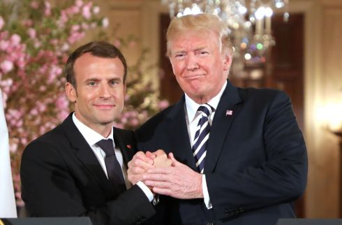 US President Donald Trump and French President Emmanuel Macron shake hands during a joint press conference at the White House in Washington, DC, on April 24, 2018. Macron arrived in Washington on Monday for a three-day visit heavy on symbolism and substance as Donald Trump hosts the first official state visit of his presidency. / AFP PHOTO / Ludovic MARINLUDOVIC MARIN/AFP/Getty Images
